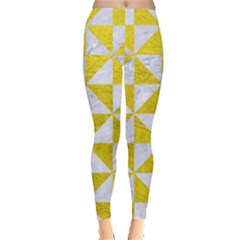 Triangle1 White Marble & Yellow Leather Leggings  by trendistuff