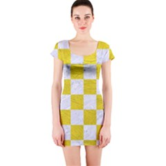 Square1 White Marble & Yellow Leather Short Sleeve Bodycon Dress by trendistuff