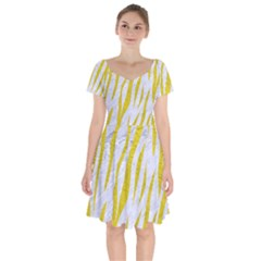 Skin3 White Marble & Yellow Leather (r)skin3 White Marble & Yellow Leather (r) Short Sleeve Bardot Dress by trendistuff