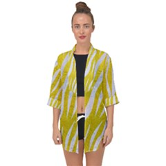 Skin3 White Marble & Yellow Leather Open Front Chiffon Kimono by trendistuff