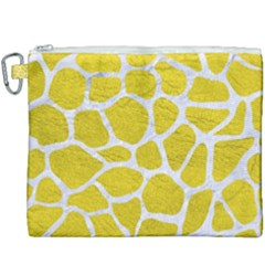 Skin1 White Marble & Yellow Leather (r) Canvas Cosmetic Bag (xxxl) by trendistuff
