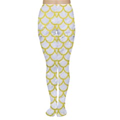Scales1 White Marble & Yellow Leather (r) Women s Tights by trendistuff