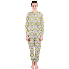 Scales1 White Marble & Yellow Leather (r) Onepiece Jumpsuit (ladies)  by trendistuff