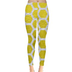 Hexagon2 White Marble & Yellow Leather Leggings  by trendistuff