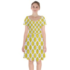 Circles2 White Marble & Yellow Leather (r) Short Sleeve Bardot Dress by trendistuff