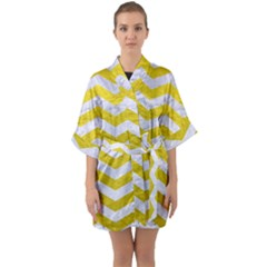 Chevron3 White Marble & Yellow Leather Quarter Sleeve Kimono Robe by trendistuff