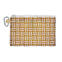 Woven1 White Marble & Yellow Grunge Canvas Cosmetic Bag (large) by trendistuff