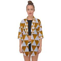 Triangle3 White Marble & Yellow Grunge Open Front Chiffon Kimono by trendistuff