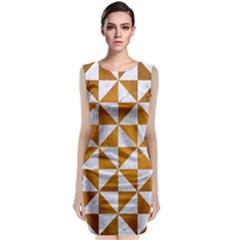 Triangle1 White Marble & Yellow Grunge Classic Sleeveless Midi Dress
