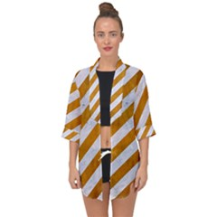 Stripes3 White Marble & Yellow Grunge (r) Open Front Chiffon Kimono by trendistuff