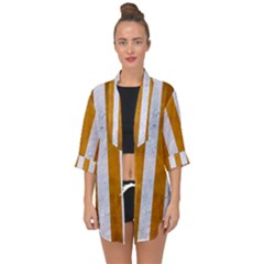 Stripes1 White Marble & Yellow Grunge Open Front Chiffon Kimono by trendistuff