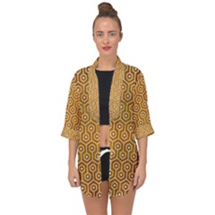 Hexagon1 White Marble & Yellow Grunge Open Front Chiffon Kimono by trendistuff