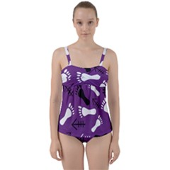 Purple Twist Front Tankini Set by HASHHAB