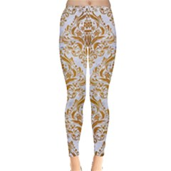 Damask1 White Marble & Yellow Grunge (r) Leggings  by trendistuff