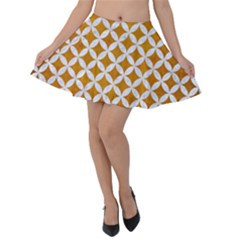 Circles3 White Marble & Yellow Grunge Velvet Skater Skirt by trendistuff