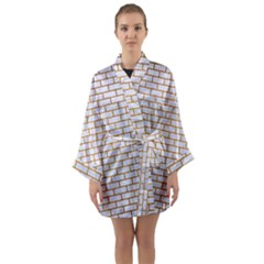 Brick1 White Marble & Yellow Grunge (r) Long Sleeve Kimono Robe by trendistuff