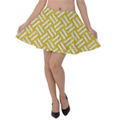 Woven2 White Marble & Yellow Denim Velvet Skater Skirt by trendistuff