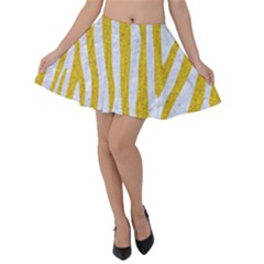 Skin4 White Marble & Yellow Denim Velvet Skater Skirt by trendistuff
