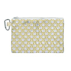 Scales2 White Marble & Yellow Denim (r) Canvas Cosmetic Bag (large) by trendistuff