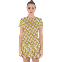 Houndstooth2 White Marble & Yellow Denim Drop Hem Mini Chiffon Dress by trendistuff