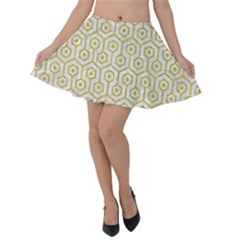 Hexagon1 White Marble & Yellow Denim (r) Velvet Skater Skirt by trendistuff