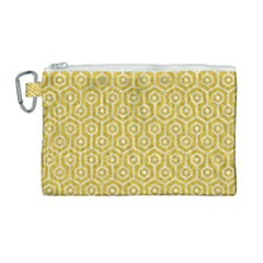 Hexagon1 White Marble & Yellow Denim Canvas Cosmetic Bag (large) by trendistuff