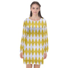 Diamond1 White Marble & Yellow Denim Long Sleeve Chiffon Shift Dress  by trendistuff