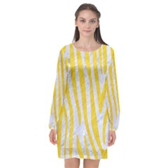 Skin4 White Marble & Yellow Colored Pencil Long Sleeve Chiffon Shift Dress