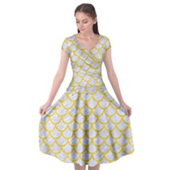 Scales1 White Marble & Yellow Colored Pencil (r) Cap Sleeve Wrap Front Dress by trendistuff