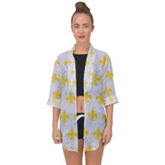 Royal1 White Marble & Yellow Colored Pencil Open Front Chiffon Kimono by trendistuff