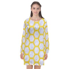 Hexagon2 White Marble & Yellow Colored Pencil (r) Long Sleeve Chiffon Shift Dress  by trendistuff