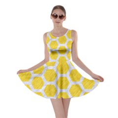 Hexagon2 White Marble & Yellow Colored Pencil Skater Dress by trendistuff