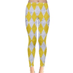 Diamond1 White Marble & Yellow Colored Pencil Leggings  by trendistuff