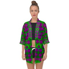 The Pixies Dance On Green In Peace Open Front Chiffon Kimono by pepitasart