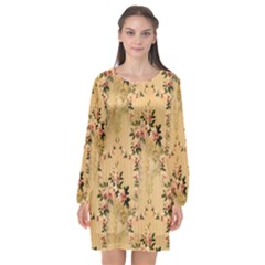 Vintage Floral Pattern Long Sleeve Chiffon Shift Dress  by paulaoliveiradesign