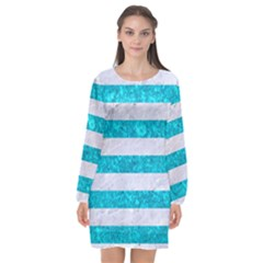 Stripes2white Marble & Turquoise Marble Long Sleeve Chiffon Shift Dress  by trendistuff