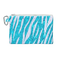 Skin3 White Marble & Turquoise Marble Canvas Cosmetic Bag (large) by trendistuff