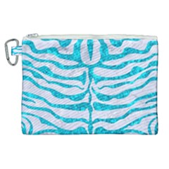 Skin2 White Marble & Turquoise Marble (r) Canvas Cosmetic Bag (xl) by trendistuff