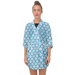 Scales1 White Marble & Turquoise Marble (r) Half Sleeve Chiffon Kimono by trendistuff