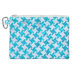 Houndstooth2 White Marble & Turquoise Marble Canvas Cosmetic Bag (xl) by trendistuff
