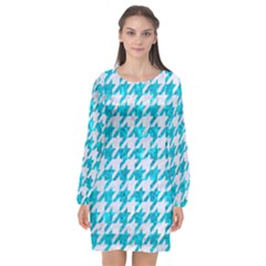 Houndstooth1 White Marble & Turquoise Marble Long Sleeve Chiffon Shift Dress  by trendistuff