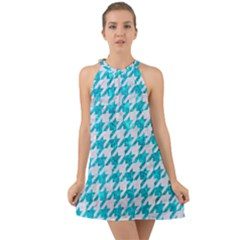 Houndstooth1 White Marble & Turquoise Marble Halter Tie Back Chiffon Dress by trendistuff