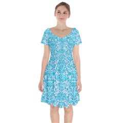 Damask2 White Marble & Turquoise Marble (r) Short Sleeve Bardot Dress by trendistuff