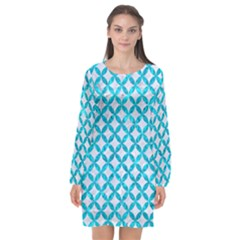Circles3 White Marble & Turquoise Marble (r) Long Sleeve Chiffon Shift Dress  by trendistuff
