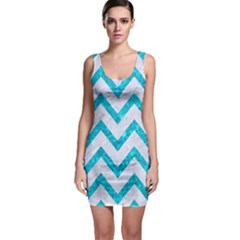 Chevron9 White Marble & Turquoise Marble (r) Bodycon Dress by trendistuff