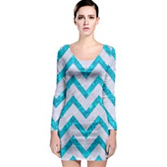 Chevron9 White Marble & Turquoise Marble (r) Long Sleeve Bodycon Dress by trendistuff