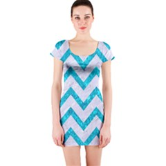 Chevron9 White Marble & Turquoise Marble (r) Short Sleeve Bodycon Dress by trendistuff