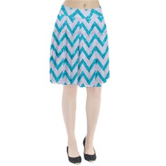 Chevron9 White Marble & Turquoise Marble (r) Pleated Skirt by trendistuff