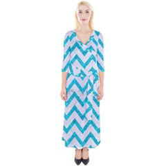 Chevron9 White Marble & Turquoise Marble (r) Quarter Sleeve Wrap Maxi Dress by trendistuff