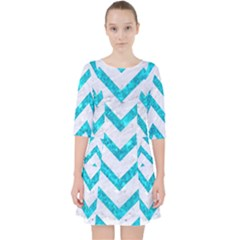 Chevron9 White Marble & Turquoise Marble (r) Pocket Dress by trendistuff